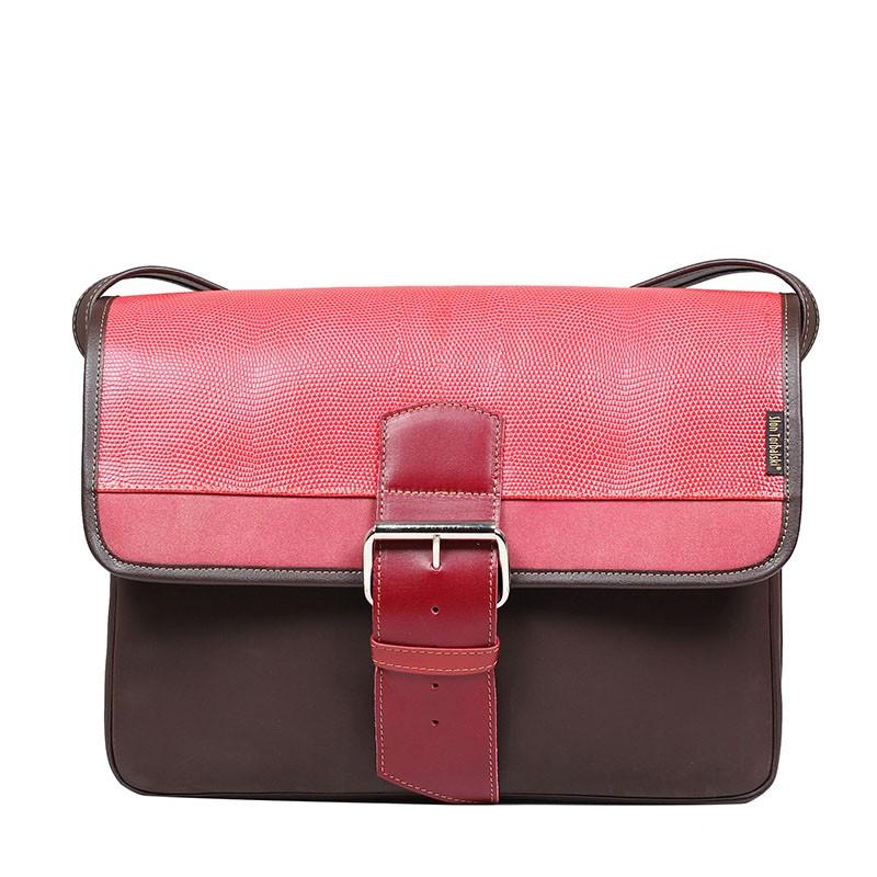 torebka skórzana student czerwona