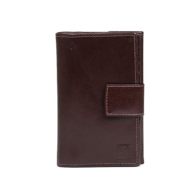 przód portfel skórzany damski brązowy