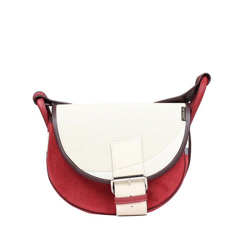 biało-czerwona skórzana torebka