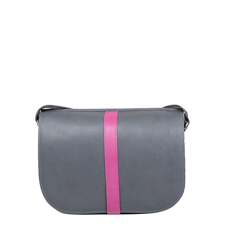 szara torebka z różowym paskiem