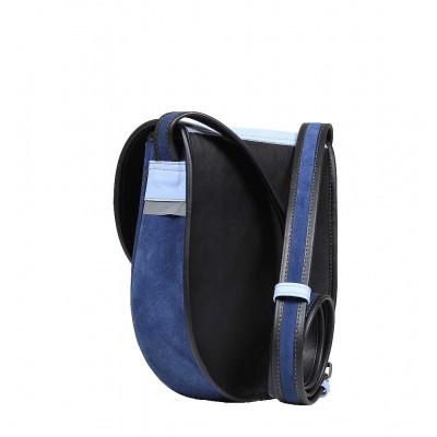 tył niebieska torebka skórzana