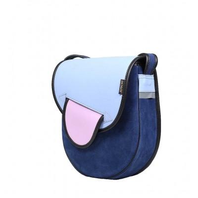 niebieska torebka skórzana na ramię