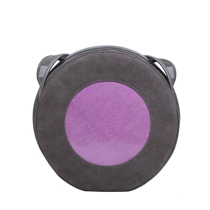 okrągła torebka skórzana