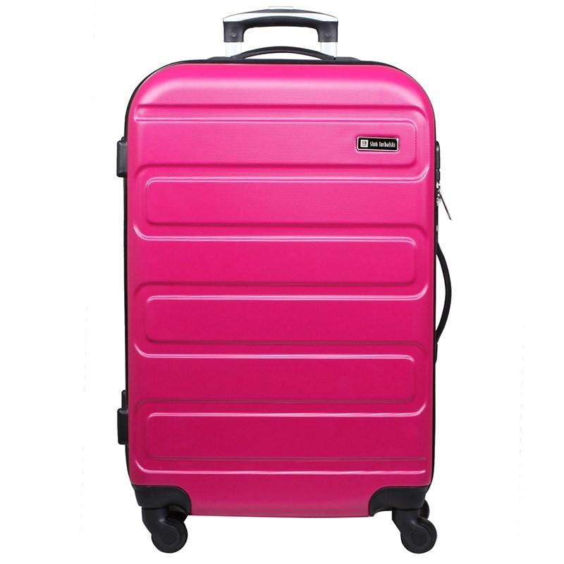 duża różowa walizka na 4 kółkach