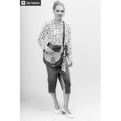 model, leather bag