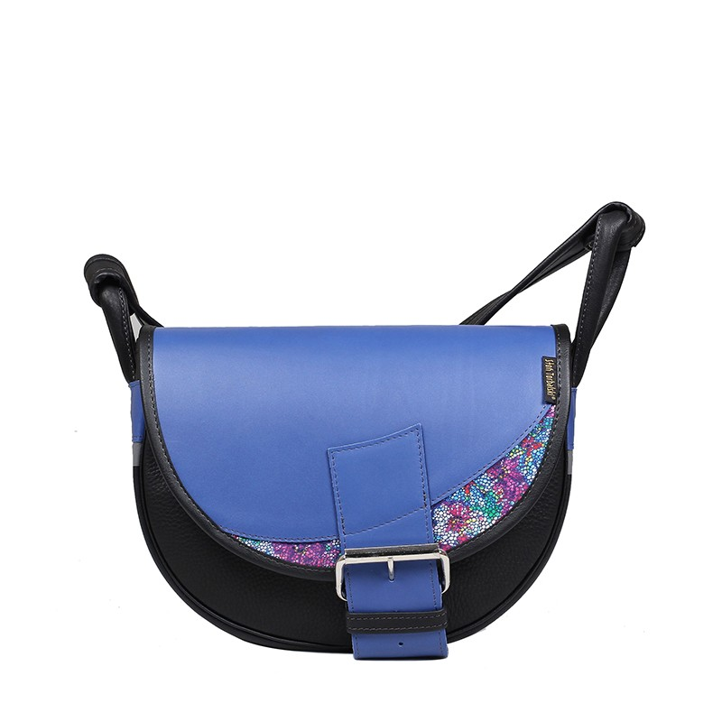 skórzana niebieska torebka