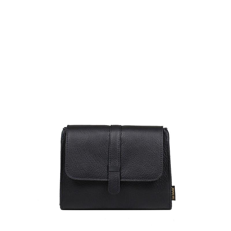 Mała czarna skórzana torebka