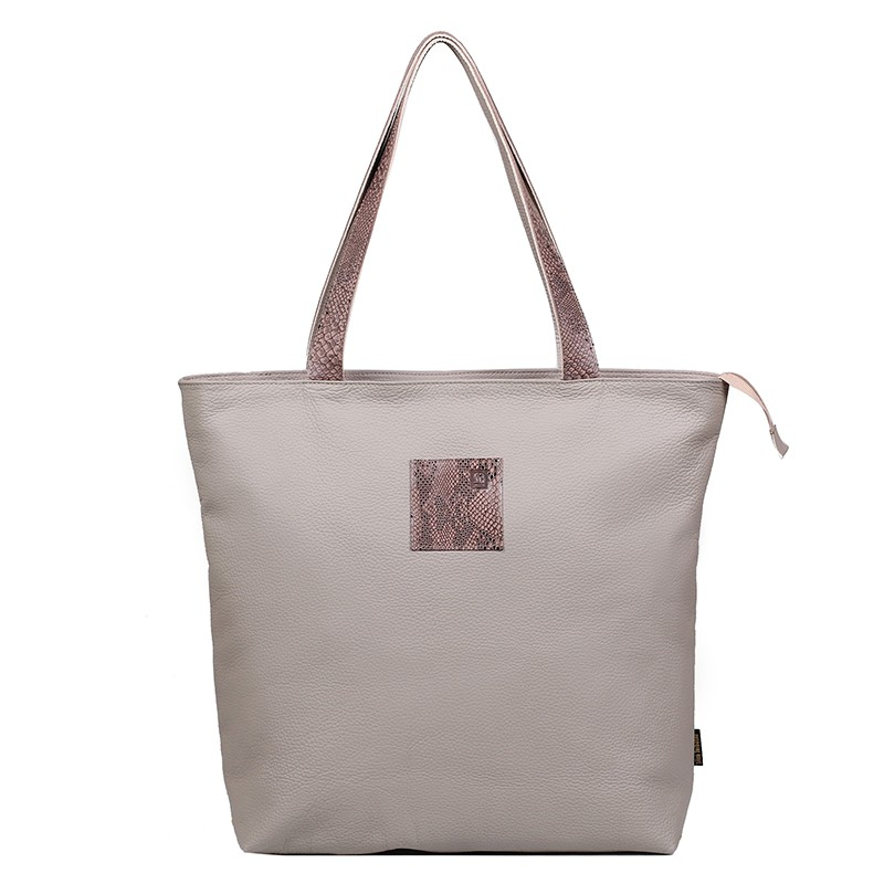 leather shopper bag beige