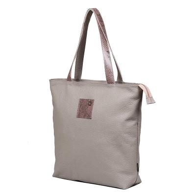 Beżowa torba skórzana shopper