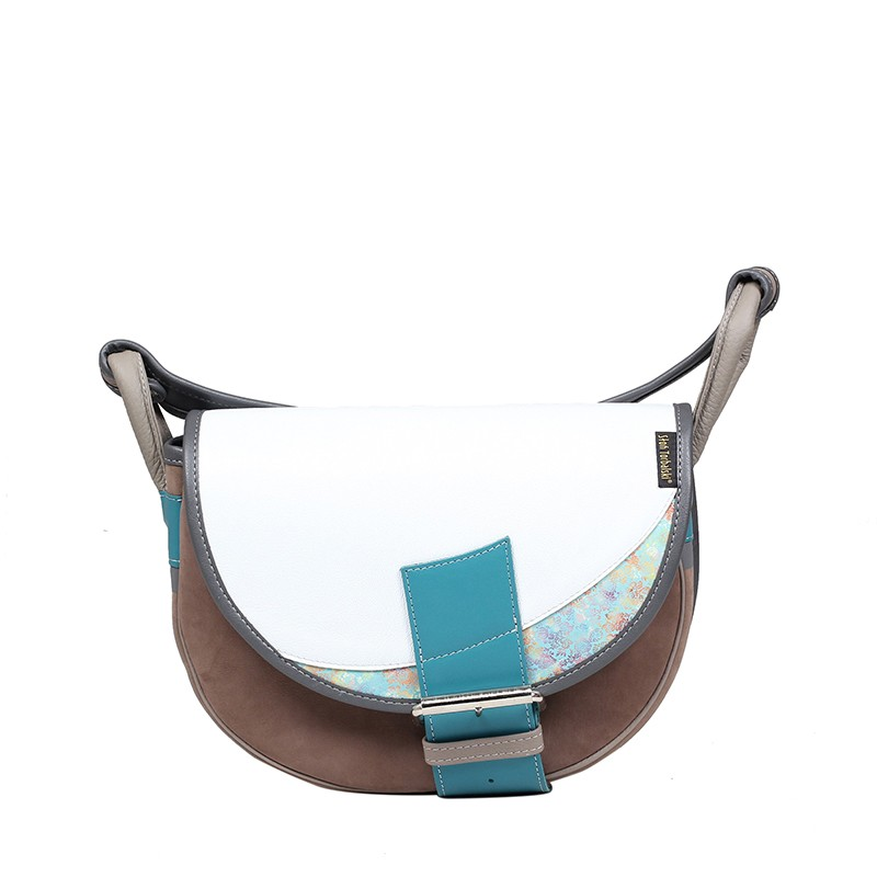 Półokrągła skórzana torebka na ramię