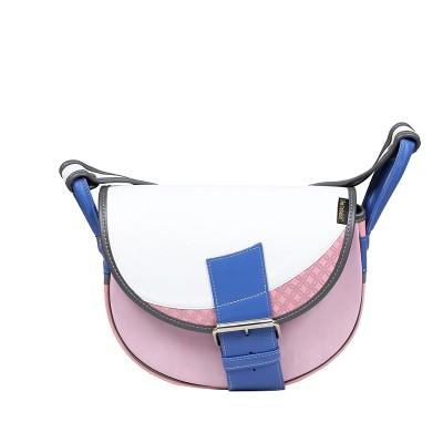 Biało-różowa torebka skórzana na ramię
