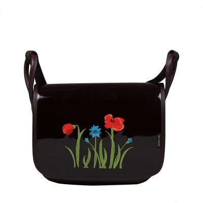 Leather women's handbag with embroidery