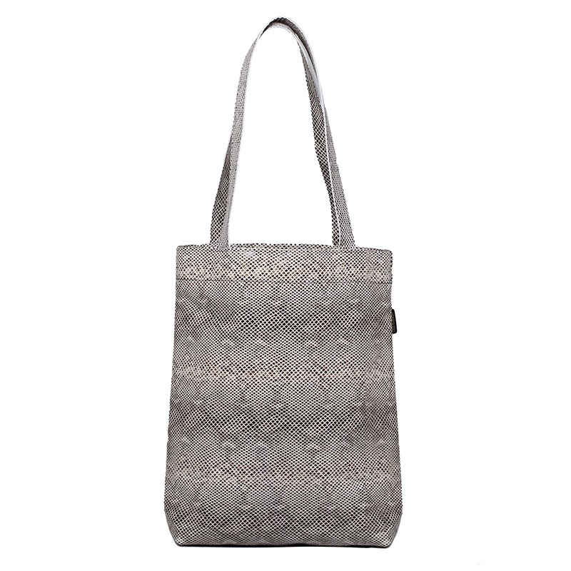 Leather shopper bag snake pattern