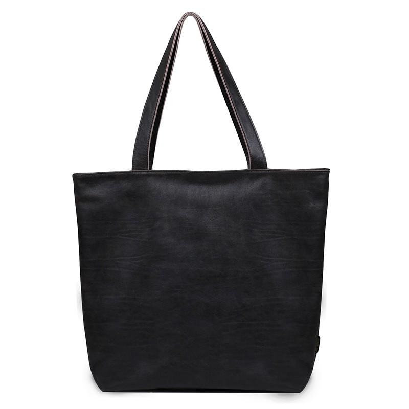torebka shopper czarna skórzana