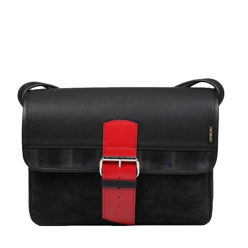 czarna skórzana torba A4